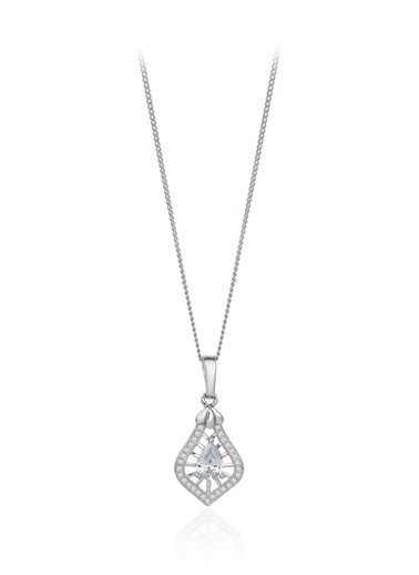 Tophills Diamond Co. 0,70 Ct Pırlanta Efekt Altın Tie Kolye Renkli